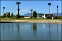 Lake and baseball stadium