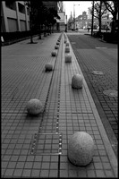 Bollards and balls B&W