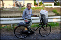 Elderly bicycle rider
