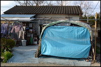 Blue garage cover