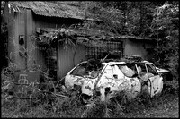 Wrecked car bw conversion