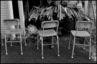 Chairs and pipes B&W