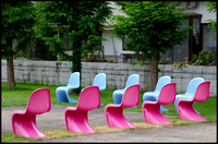 Pink and blue chairs